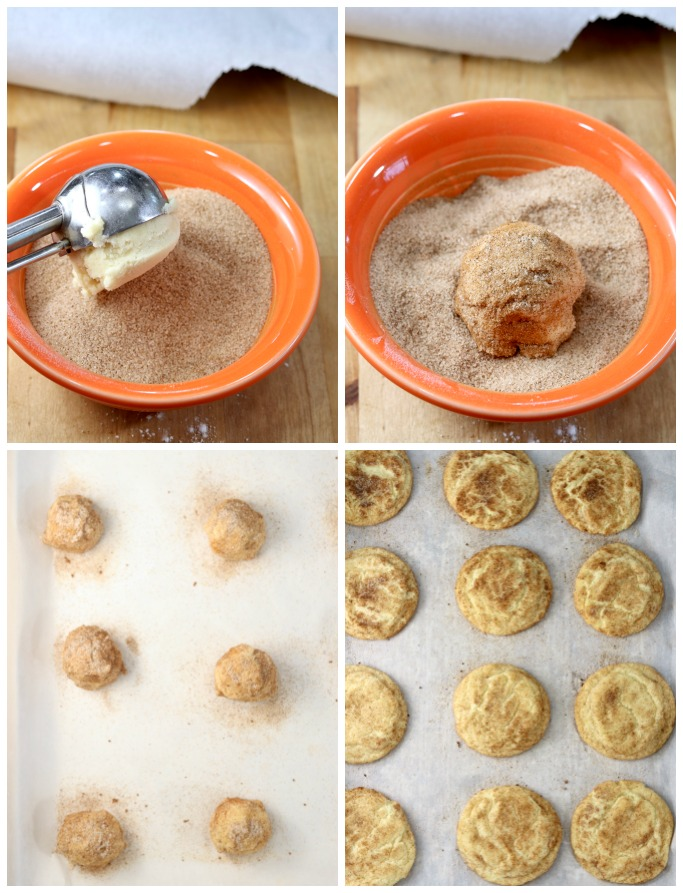 Cinnamon Sugar in a bowl, rolling cookie dough balls in mixture, placed on baking sheet, baked cookies