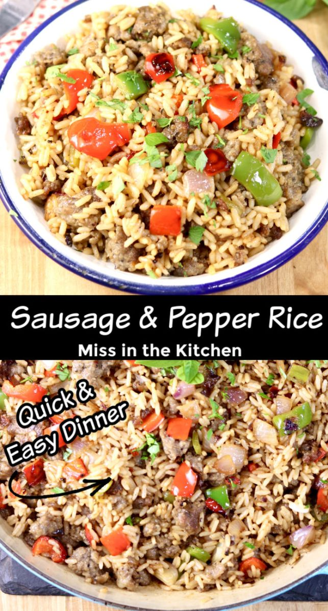 Sausage and Pepper Rice Skillet Meal plated, and pan photo, with text overlay