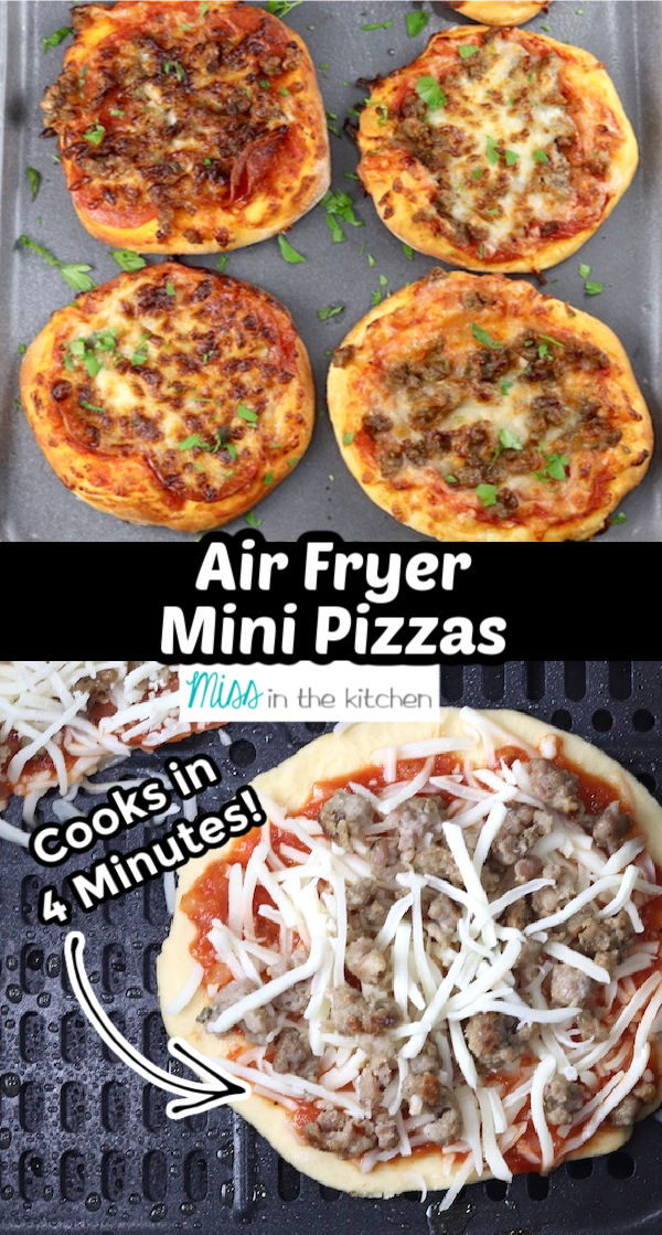 collage of mini air fryer pizza - baked and in air fryer ready to bake