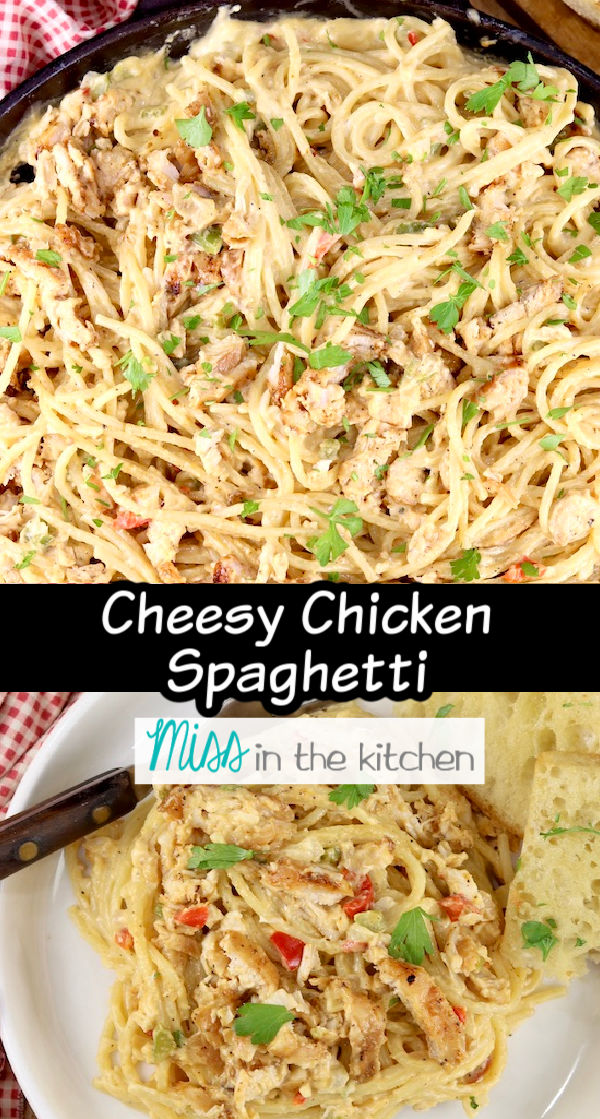 Cheesy Chicken Spaghetti- skillet photo over plated photo - text overlay in center of collage