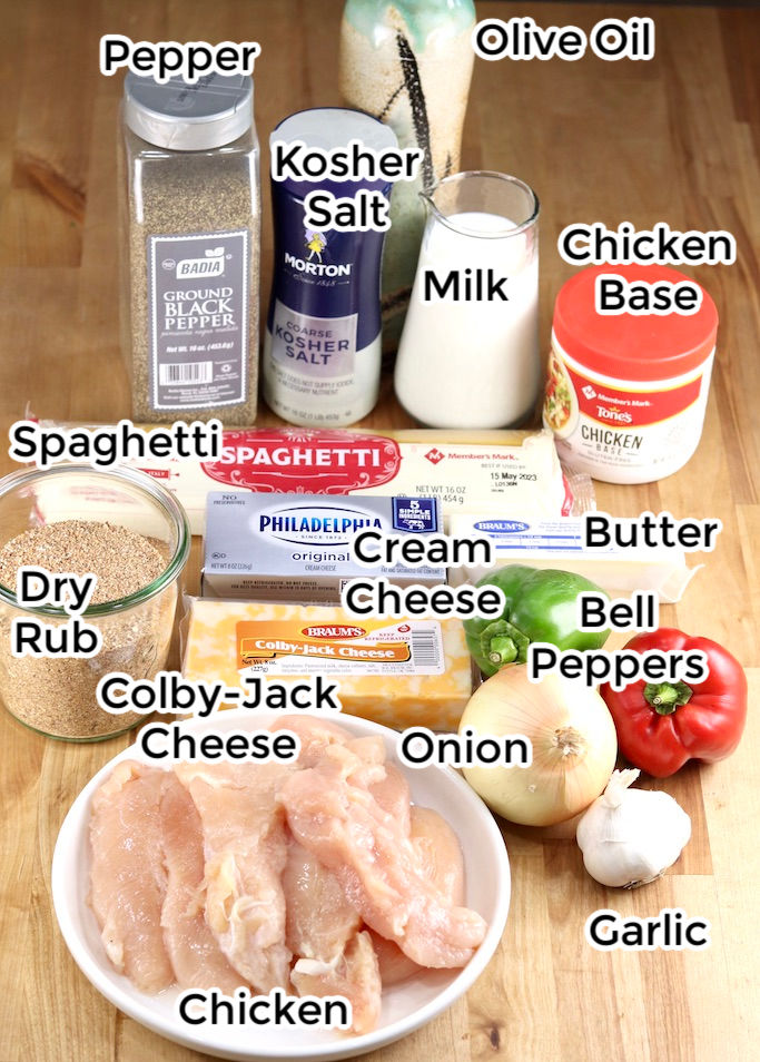 Ingredients for grilled chicken spaghetti