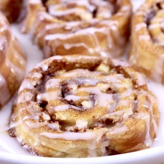 Apple Cinnamon Rolls close up on a white plate