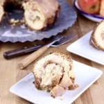 Apple Coffee Cake on a plate - cake on galvanized platter in background