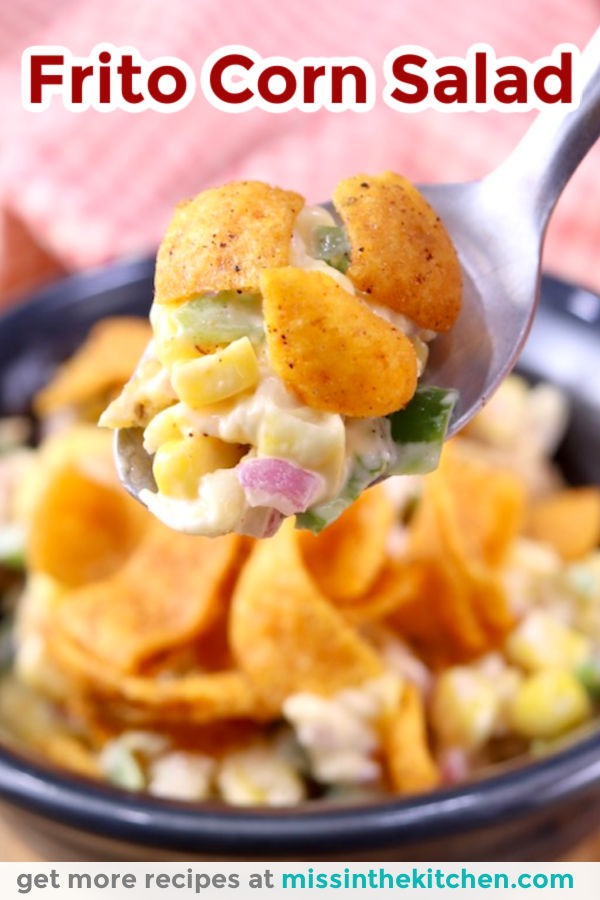 Frito Corn Salad - closeup of spoonful and text overlay