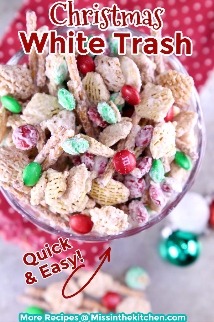 Christmas White Trash snack mix in a jar, overhead view