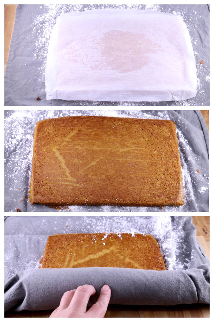 Collage of parchment lined cake, parchment removed and rolling cake into a towel