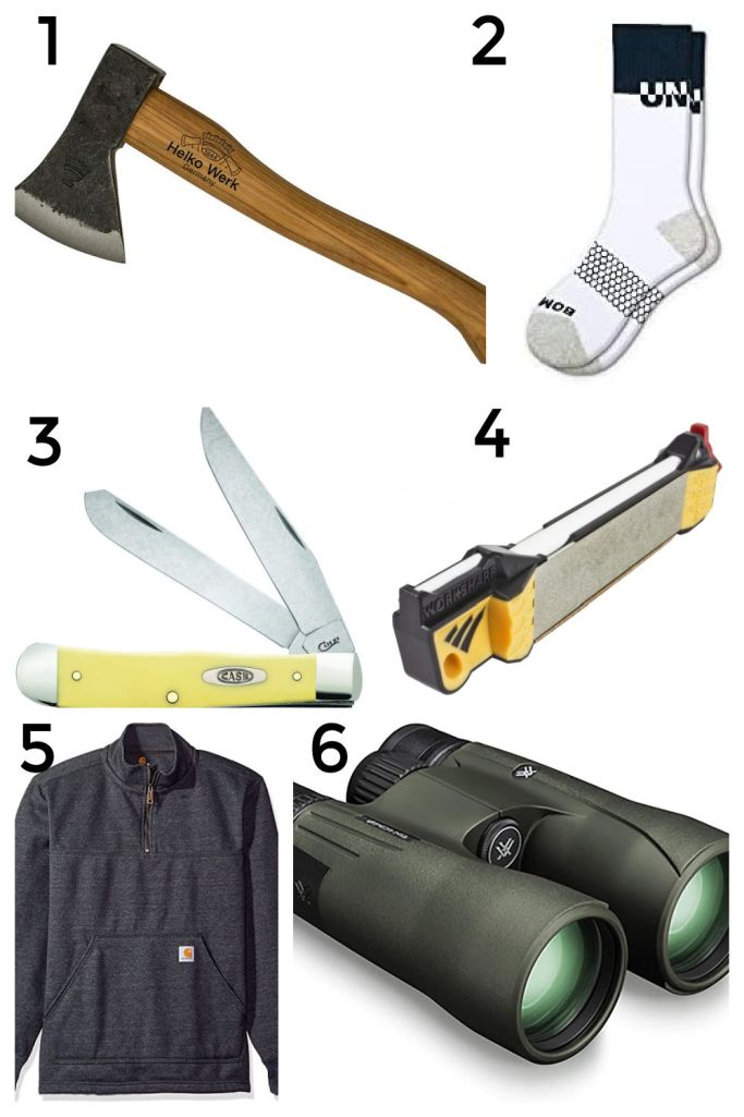 Holiday Gift Guide 2020 for Him ~ Great ideas in every price range. Gifts for dads, brothers, boyfriends. Chopping Axe, socks, knives, sweatshirts, binoculars and more.