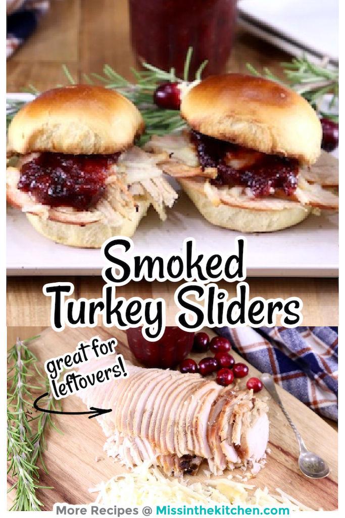 Turkey Sliders Collage, sliders on the platter, ingredients below