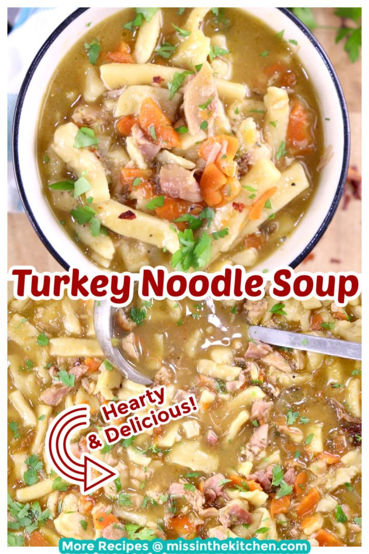 Collage turkey noodle soup bowl and photo of pan