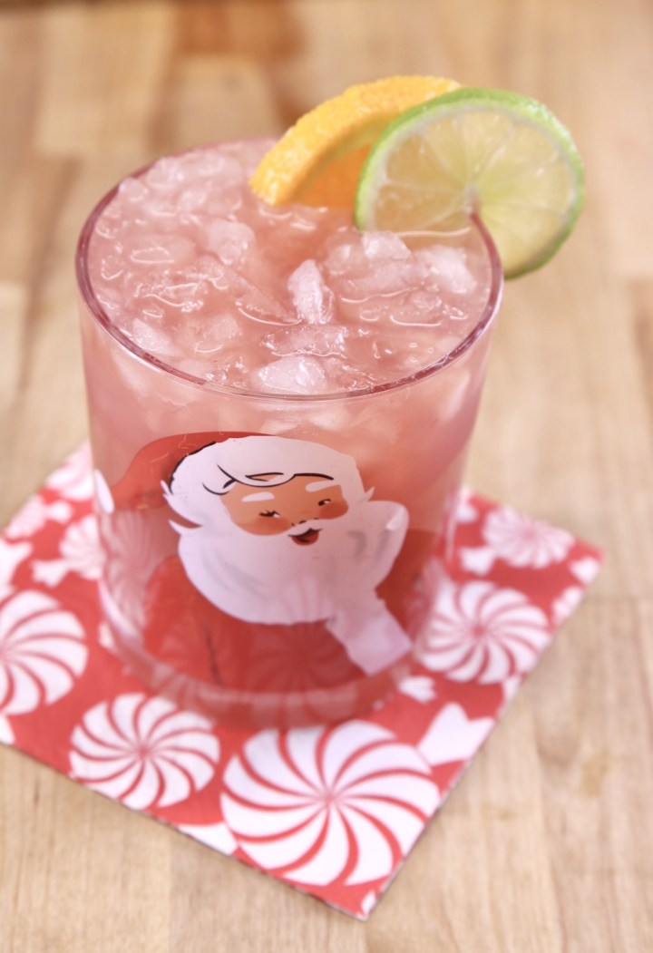 Glass of Christmas Punch on a red and white napkin