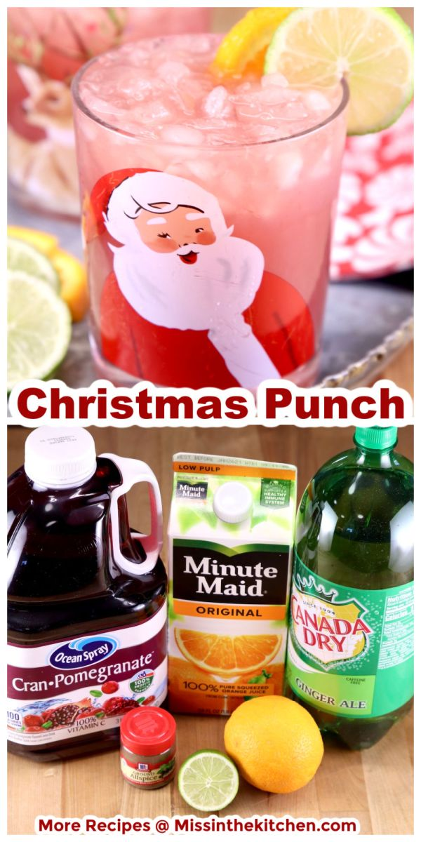 Christmas Punch collage served in a Santa glass over photo of ingredients