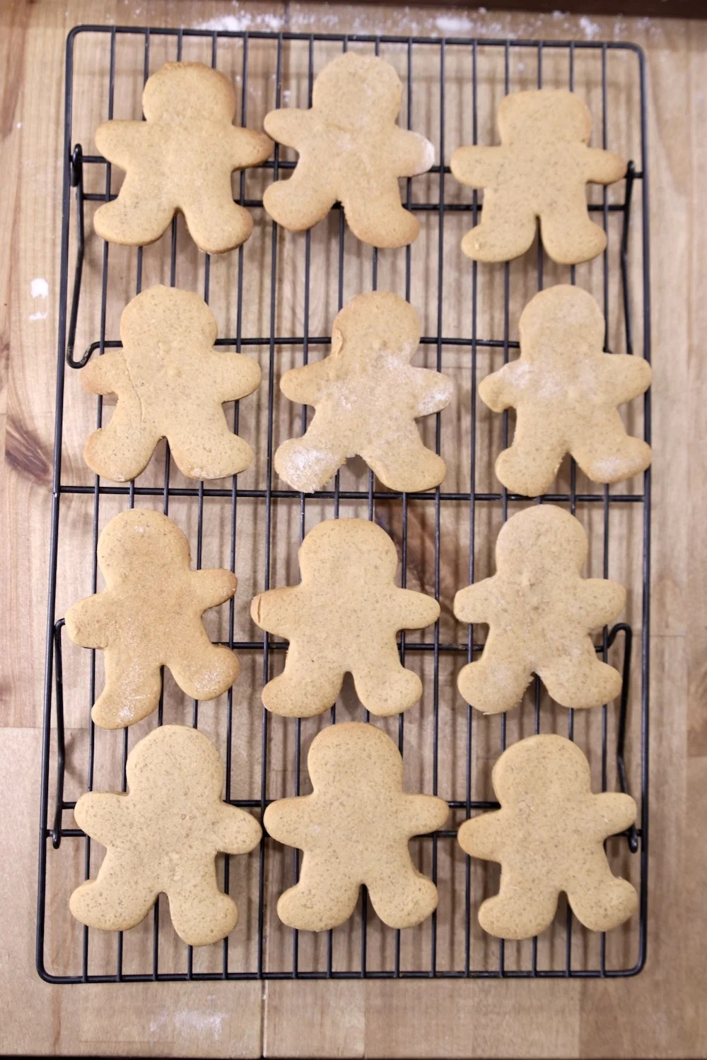 Gingerbread Men Cookies cooling on a wire rack