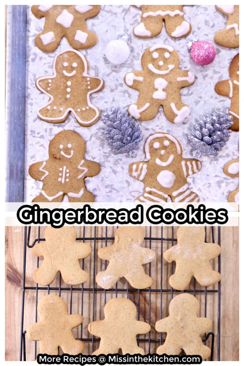 Gingerbread Cookies collage, decorated on a tray and baked and cooling on a wire rack