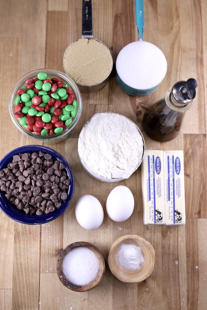 Ingredients for M&M Cookies