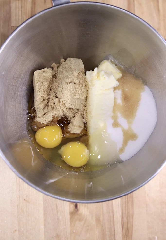 Butter, sugar, brown sugar, eggs and vanilla in a mixer bowl for cookies