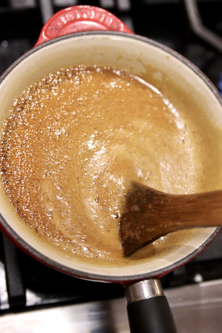 Boiling cane syrup to hard ball stage
