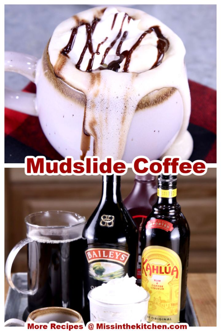 collage of mudslide coffee closeup of mug and ingredients on a tray