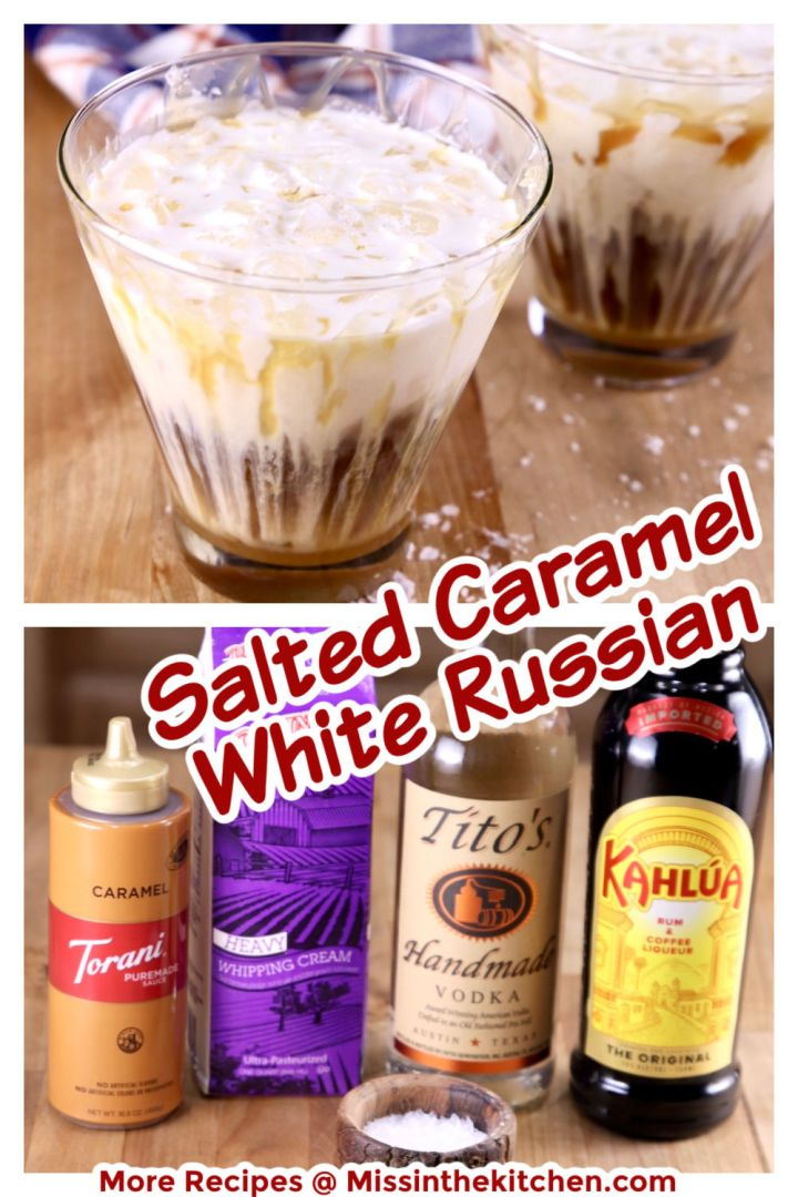 collage of salted caramel white Russian cocktails - closeup of glass and photo of ingredients