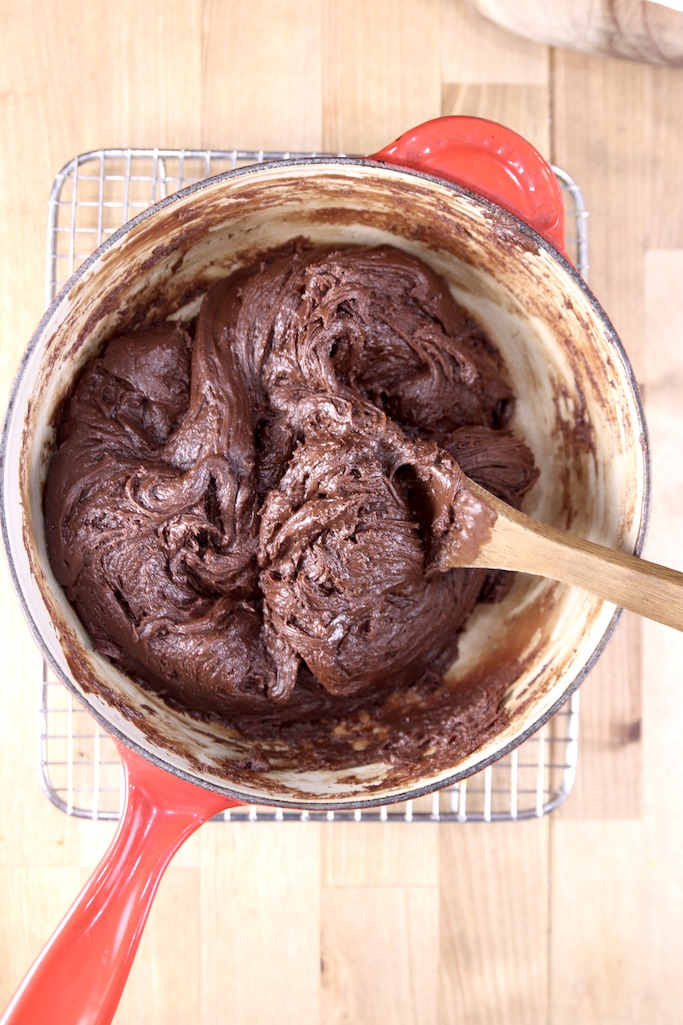 Pan with melted chocolate fudge mixture