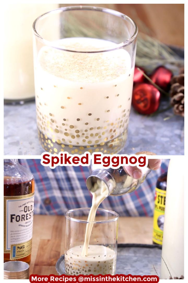 Collage of spiked eggnog in a glass over pouring into the glass