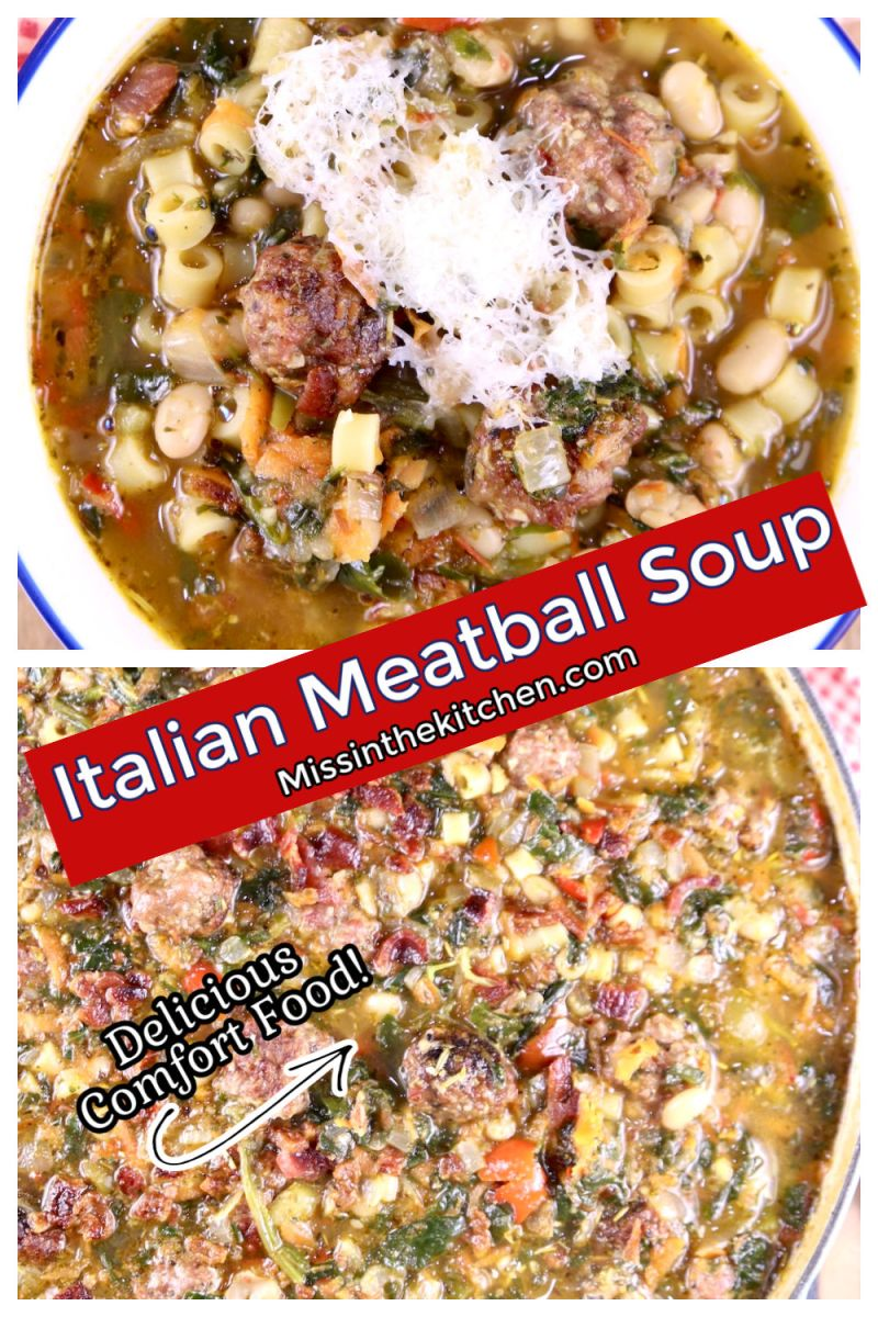 collage of Italian Meatball Soup - bowl topped with parmesan cheese and pan with text overlay