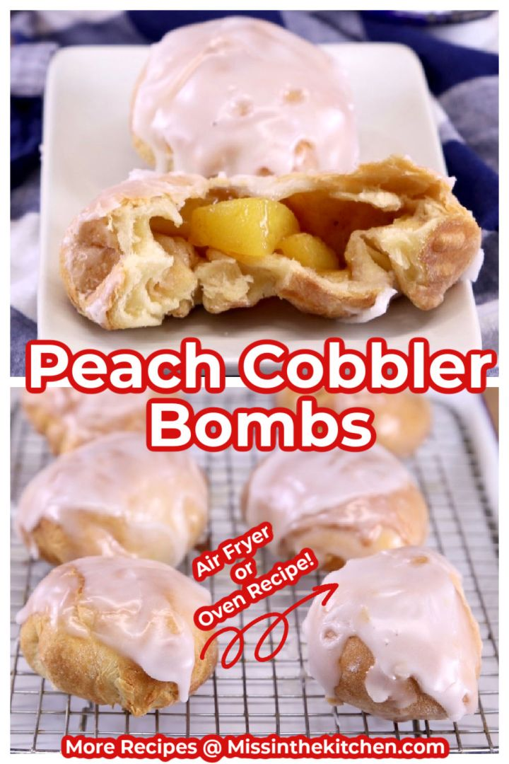 Peach cobbler bombs collage served on a plate over wire rack photo - text overlay