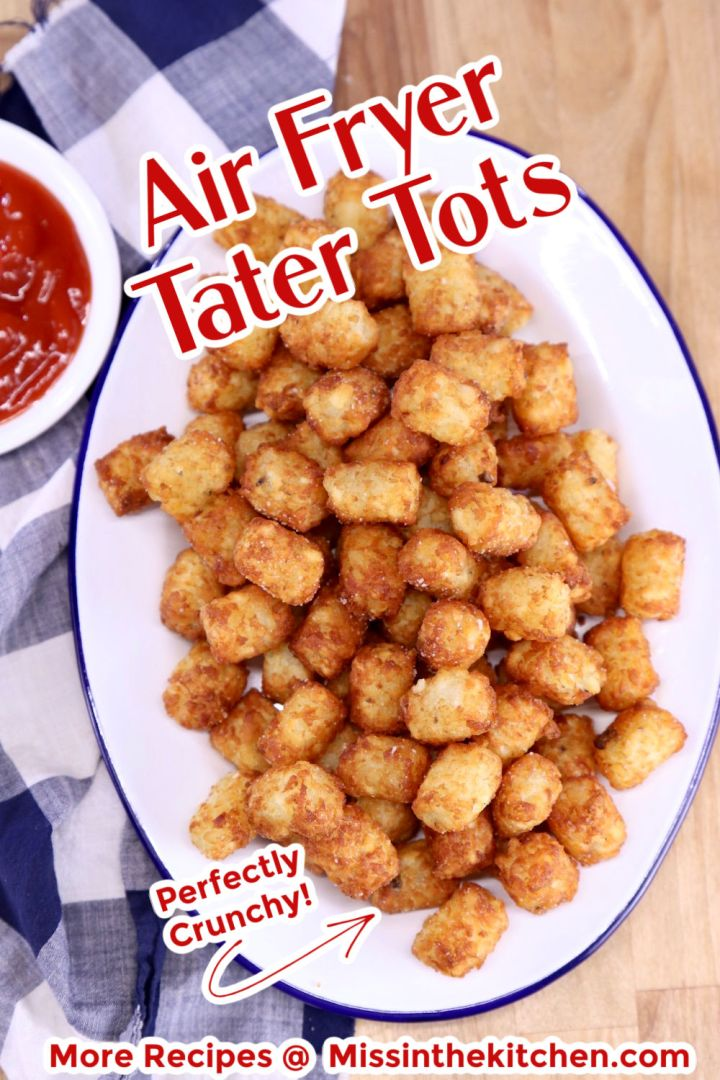 Platter of tater tots with text overlay