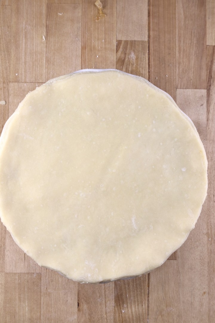 Double crust crawfish pie ready to bake