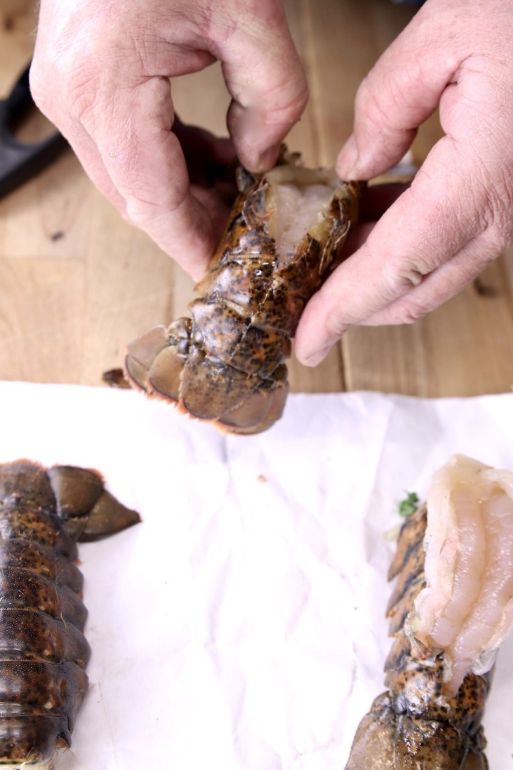 Butterflying lobster tails for grilling