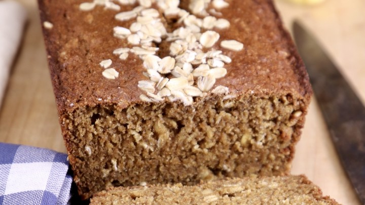 Irish Brown Bread loaf with oat topping - 2 slices off of loaf
