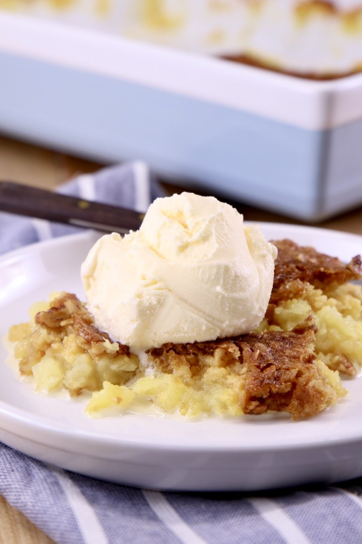 Pineapple Dump Cake served with vanilla ice cream
