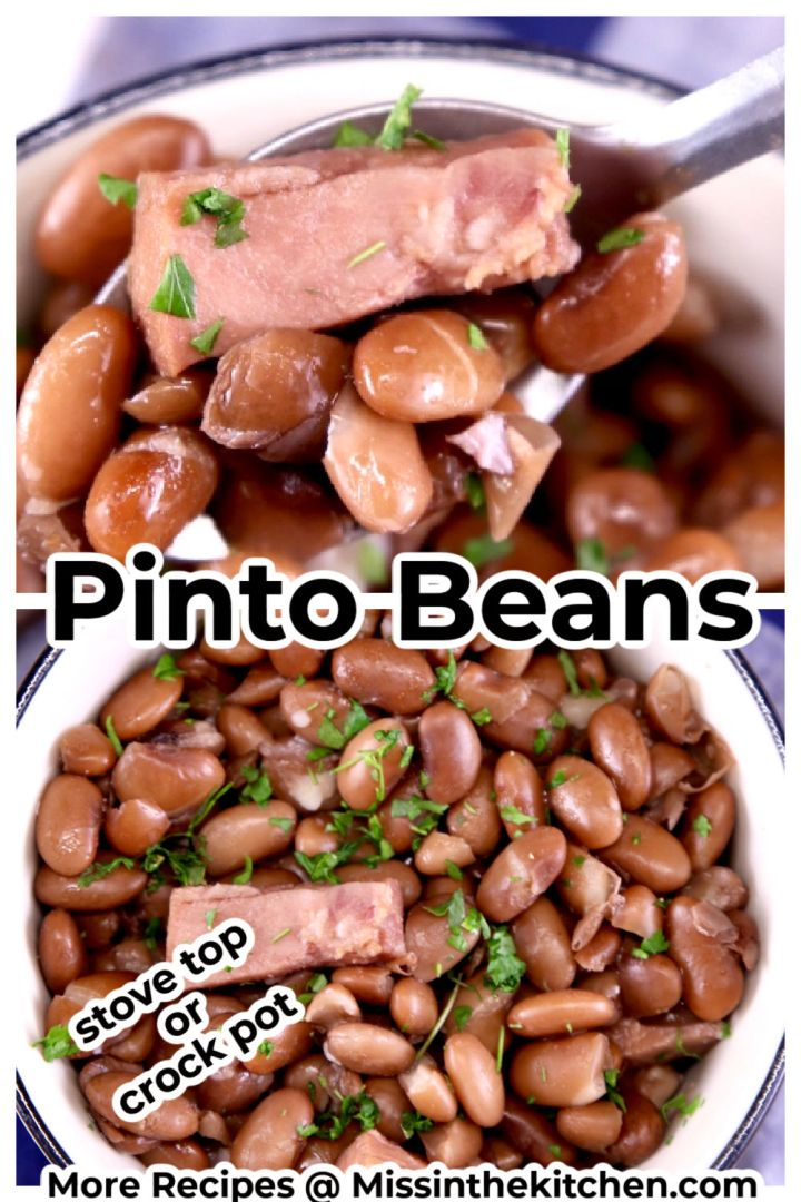 Pinto Beans collage - close up with spoon and bowl of beans