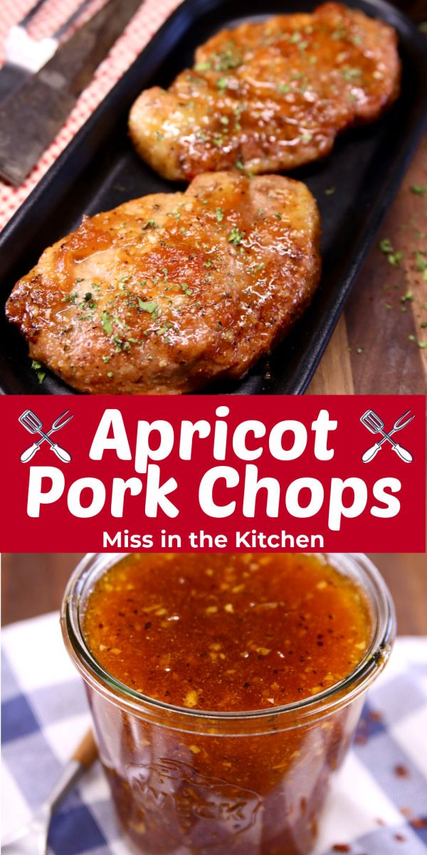 collage apricot pork chops with sauce - text overlay