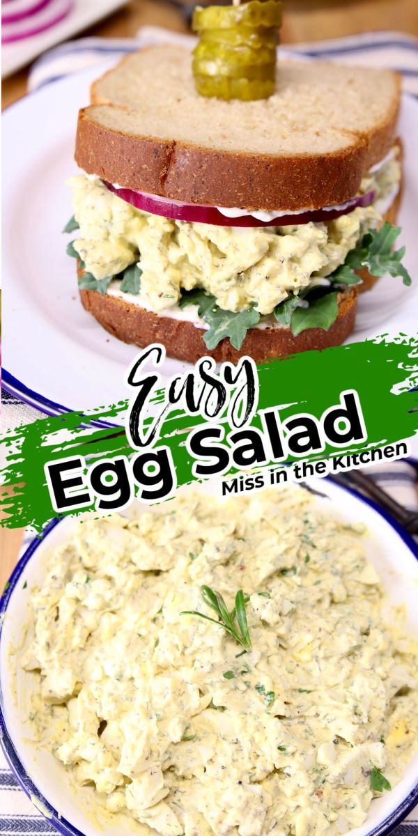 Collage of egg salad sandwich and bowl of egg salad - text overlay