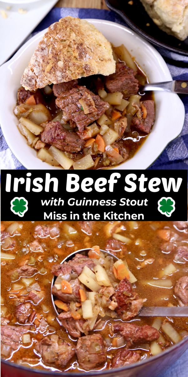 Irish Beef Stew collage with text -served in a bowl with soda bread and ladle in dutch oven