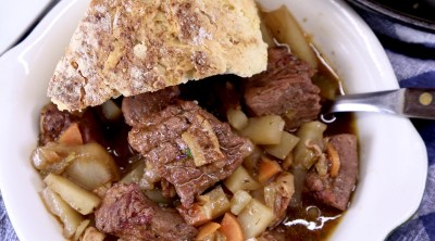 Irish Beef Stew with Soda Bread in a bowl