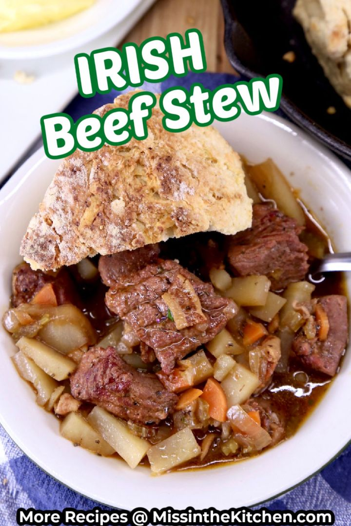 Irish Beef Stew in a bowl with Soda Bread Wedge