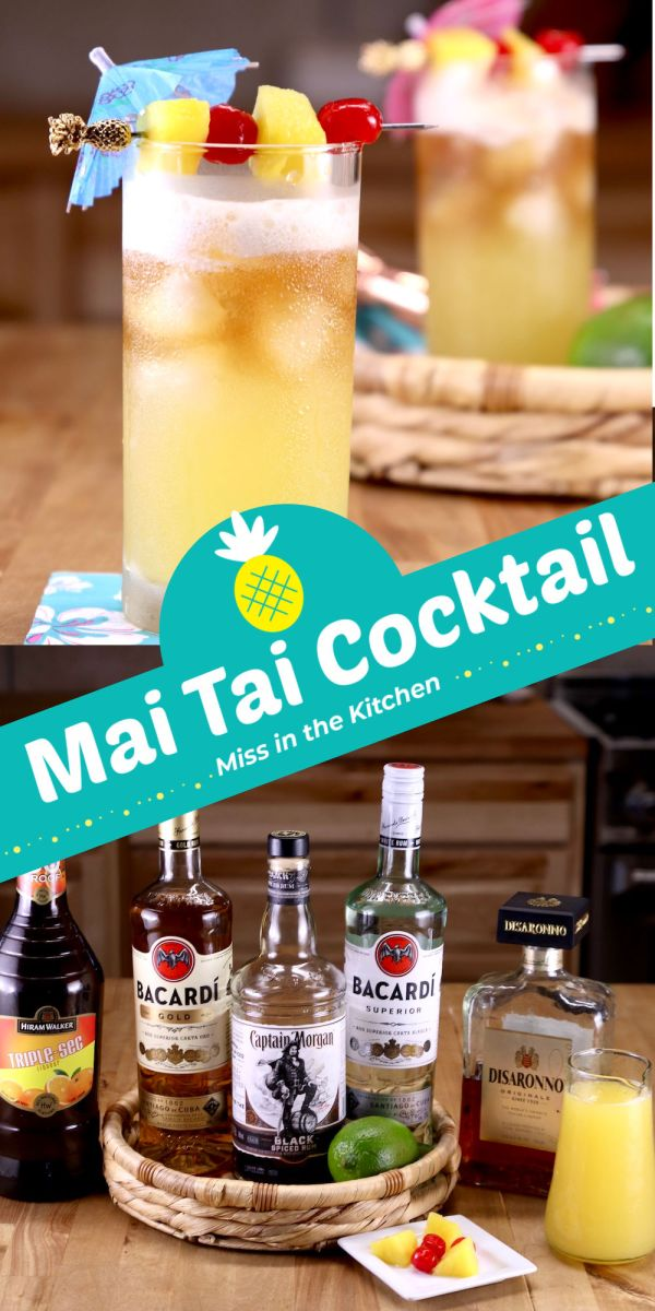 Collage of Mai Tai Cocktail with drinks in glasses and ingredient bottles below