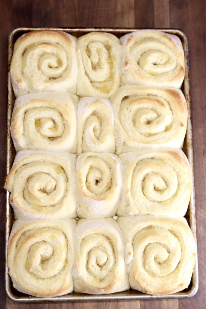 sheet pan of baked sweet rolls