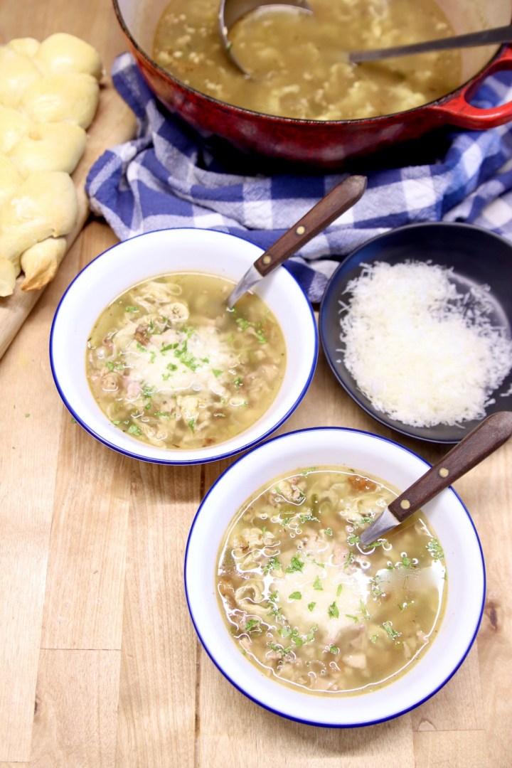 Stracciatella Soup with smoked chicken, 2 bowls