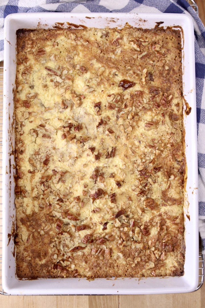 apple dump cake with pecans - overhead view