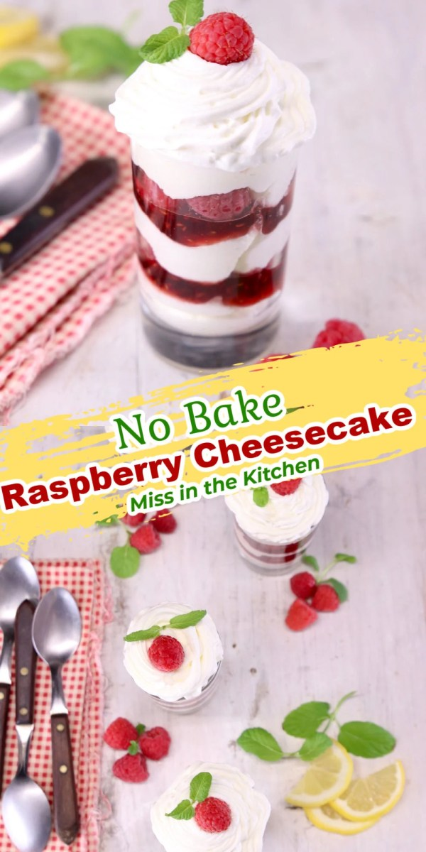 no bake raspberry cheesecake collage, served in a jar and overhead of 3 jars