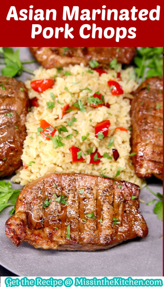 Asian Pork Chops with rice with text overlay