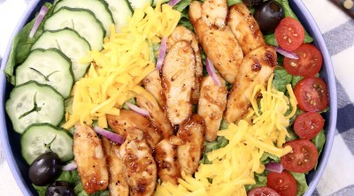 BBQ Chicken Salad in a bowl - overhead view