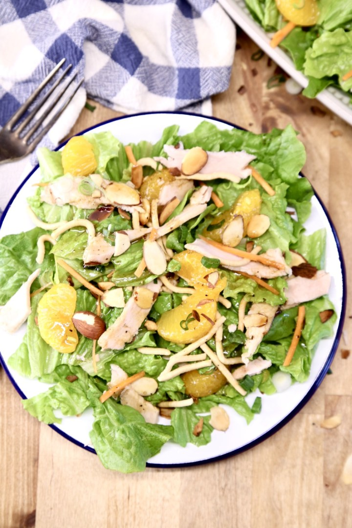 plate of salad with oranges and chicken