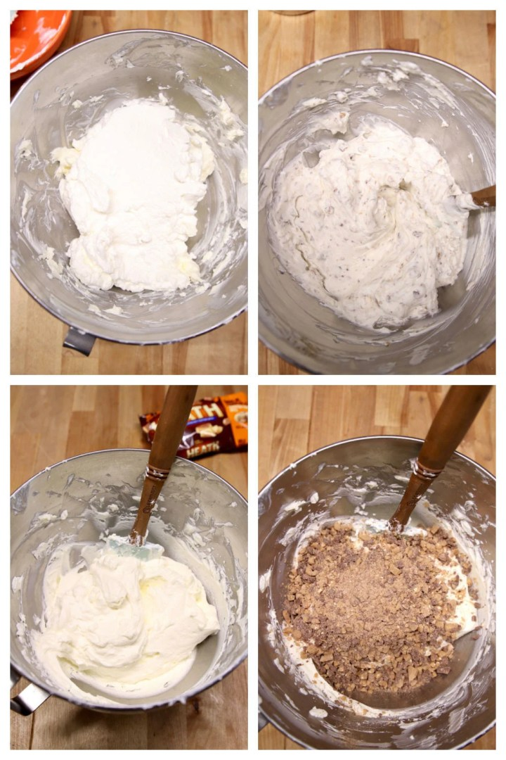 step by step making no bake toffee cheesecake collage