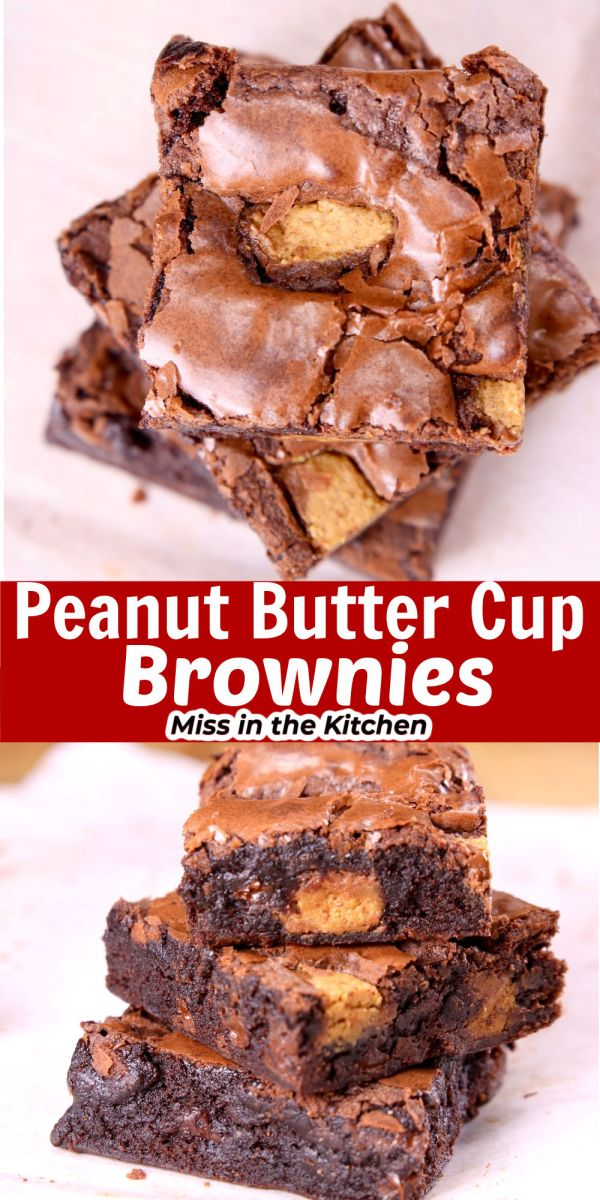 Collage peanut butter brownies over head of slices/ stacked
