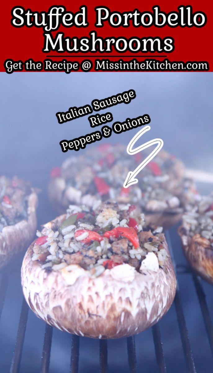 Stuffed Portobello Mushrooms on a grill - text overlay