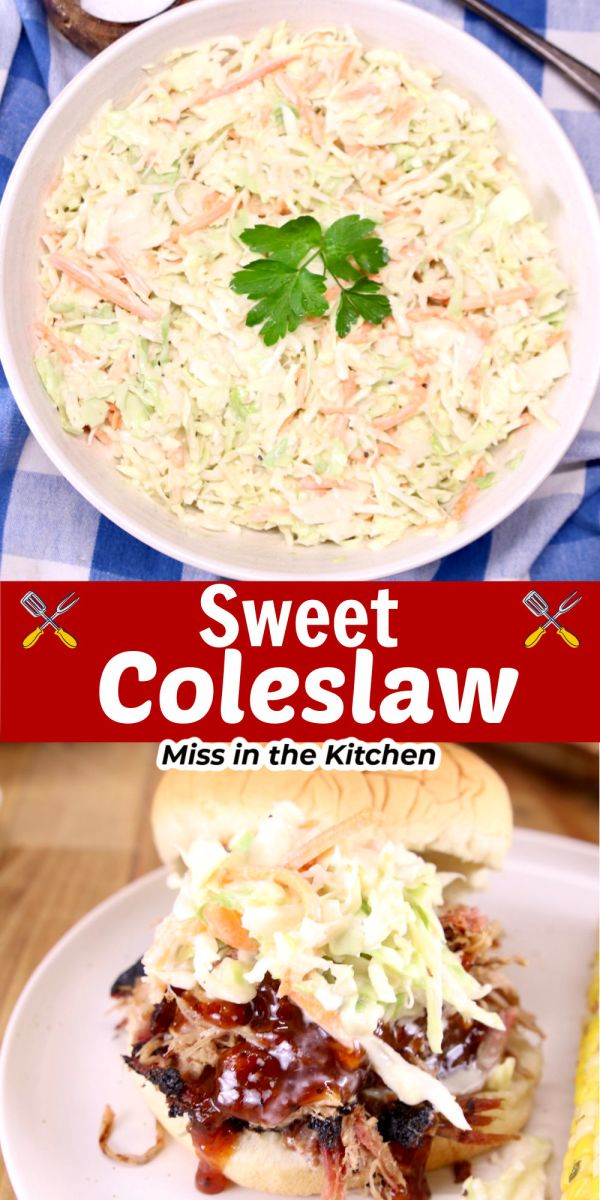 sweet coleslaw collage- in a bowl and on a bbq sandwich