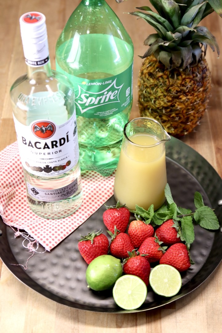 ingredients for strawberry pineapple mojitos
